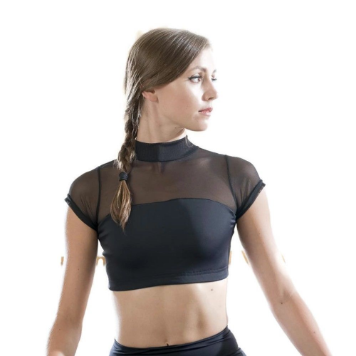 DANSEZ Dans-ez Dance Fitness Mesh Turtleneck Crop Top Black Gym Yoga Pilates